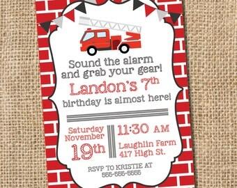 Fire Truck Birthday Invitation  - PRINTABLE