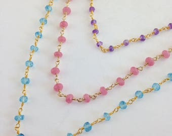 Bib Necklace - Multi chain necklace - Pastel necklace - Easter Jewelry - Gold chain - Blue Topaz - Pink Chalcedony - Amethyst - Pastel Chain