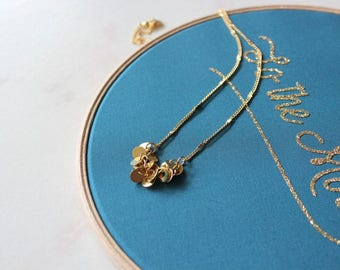 Moon necklace, gold plated with fine gold/ Summer jewel