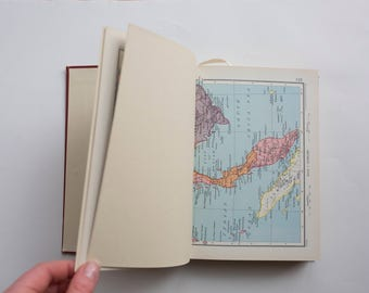 Vintage Wedding Guest Book - Unique Bespoke Personalised Guestbook idea - Maps Atlas