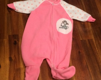 Cutest Vintage Thumper Bunny Footed Pajamas PJs Sleeper Zip Up Pink & White w/Stars Size Newborn, 0-6 months Baby Girl Bambi