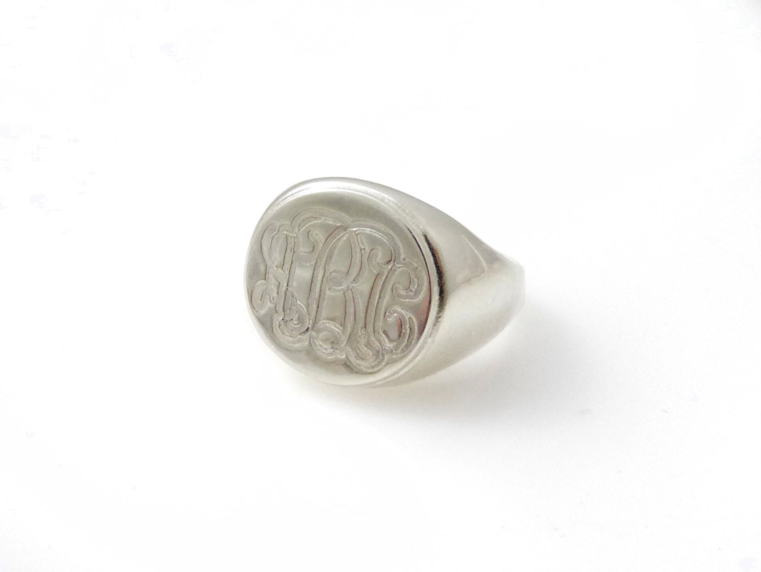 monogram ring college ring initials ring silver