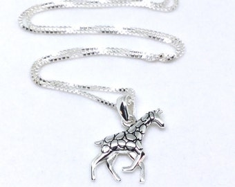 Giraffe Necklace Sterling Silver Giraffe Pendant Baby Giraffe Charm Silver Necklace Baby Animal Jewelry Small Pendant