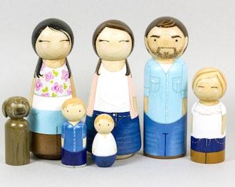 Housewarming Gift - Peg Doll family - Custom Family Portrait - Peg Dolls - Anniversary Gift - Custom Gift - Wood Peg Dolls - Unique Gift