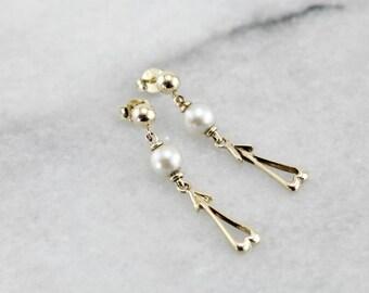 Vintage Pearl and Gold Drop Earrings 08DM85-N