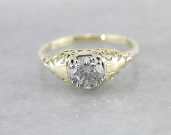 Green Gold Filigree Diamond Engagement Ring, One Carat Diamond Ring A5FJU5-P