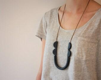 Dark blue grey tube necklace, statement, minimalist, trendy, jewelry, fimo