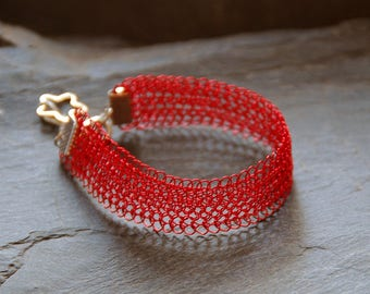 Red cuff bracelet, Delicate red bracelet, Bridesmaid gift, Birthday gift, Crochet wire jewelry for women, 0008-A14
