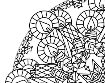 Christmas Mandala Coloring Page Adult Decorations Candles