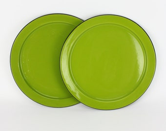 Vintage Green Avocado Enamel Ware Plates Made in Japan