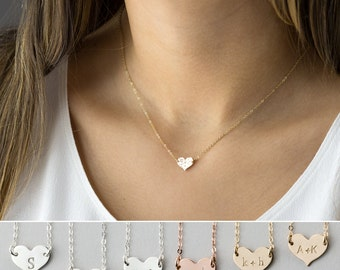 Small Heart Necklace, Dainty, Personalized 14k Gold Fill, Sterling, Rose Gold Fill, Monogram Necklace by Layered and Long LN117_10