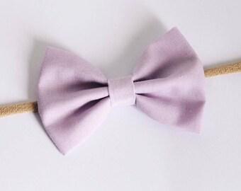 Lilac Fabric Bow Nylon Headband