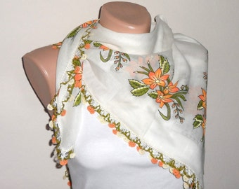 white scarf orange green scarf floral print scarf trendy scarf cotton scarf yemeni scarf türkish womans scarf gift for her