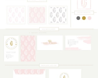 FULL BRANDING PACKAGE includes business cards letterhead stationary Watercolor Branding kit Photography - tree gold glitter initials Logo 28