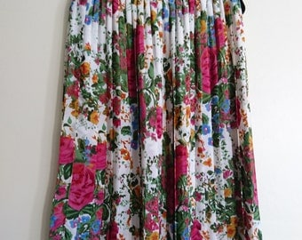 Vintage Floral Pleated Silky Skirt - Size L - 36""