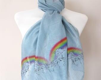 Unicorns & Rainbows Scarf. Grey scarf with Unicorn Rainbow print. Boho scarves.