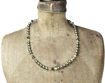 Vintage Green Glass Bead Necklace, Green Bead and Crystal Necklace, Green Bead Necklace, Long Green Necklace