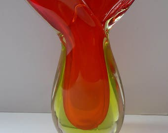 1960s MURANO Sommerso Tear-Drop Shaped Glass Vase. Red and Yellow Cased Glass - with Twin Lugs to each side