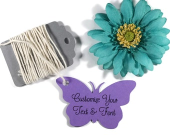 Purple Butterfly Tags Set of 20 - Custom Plum Wedding Favor Tags - Butterfly Party Tags - Thank You Bridal Shower - Butterfly Shaped Tags