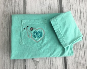 Monogram Nurse Shirt, Monogram Nurse Tee, Nurse Gift, Nurse Shirt, Nurse Gift, Gift for Nurse, Nurse Graduation Gift,Stethoscope Shirt,Nurse