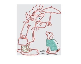 redwork girl and dog in the rain embroidery design