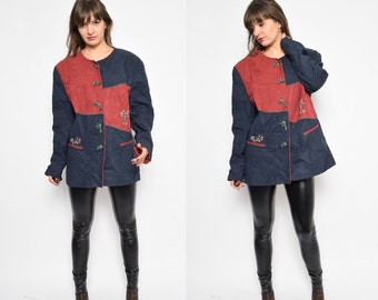 Vintage 80's  Suede Leather Button Jacket / Color Block Suede Jacket / Tyrol Leather Jacket - Size Extra Large