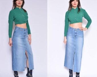 Vintage 90's Blue Denim Maxi Skirt / Fron Slit Denim Skirt / Straight Maxi Skirt - Size Extra Small