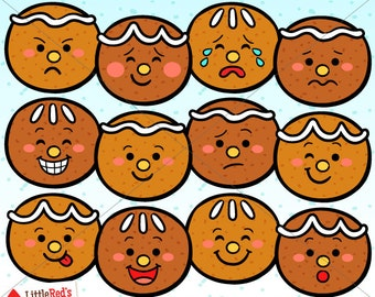 Gingerbread Emoticon Faces Clip Art and Lineart - personal and commercial use