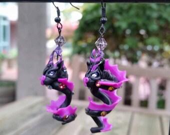 Black and Purple Dragon Earrings