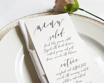 Calligraphy Wedding Menu Card, Full Calligraphy, Simple, Elegant