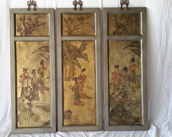Vintage Set of 3 Asian Style Panel Paintings with Ladies
