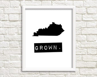 Kentucky print, black and white digital download Kentucky home signs, custom map art, home state printable art Kentucky decor Kentucky state