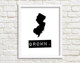New Jersey wall art, New Jersey sign, personalized home decor, black and white wall art state map print, New Jersey gifts, map of New Jersey