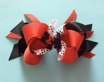 Scotty Dog Black and Red Layered Boutique Hair Bow