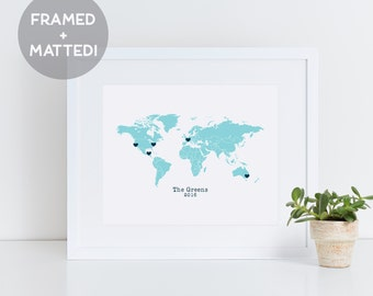 Framed Custom World Map Wall Art, Travel Gifts, Framed Map, Personalized Gift, 1st Anniversary Gift, Gift for Husband, Map Print