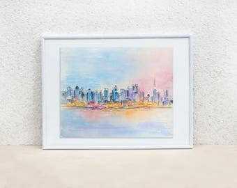 New York night watercolor. Lights in Brooklyn. New York painting. NYC painting. Watercolor painting.City sketch.Cityscape.Original painting.