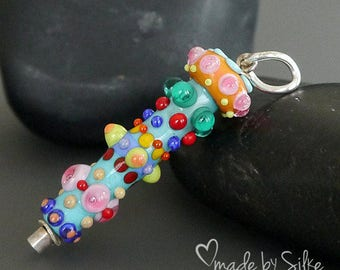 Colorful lampwork bead pendant --  made by silke -- artisan glass -- SRA -- OOAK