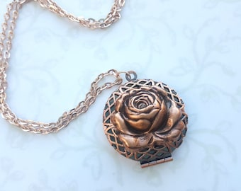 Rose Lace Locket in Matte Rose Gold, Filigree Necklace, Beauty and the Beast, Photo Locket, Enchanted Rose, Tale as Old as Time, Copper