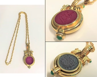 80s Signed Tova Designer Beverly Hills Reversible Perfume Posion Necklace Pendant Carnelian Lava Stone Statement Necklace Functional Crest