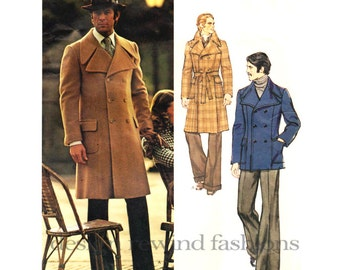 Vogue 2918 1970s MENS Double Breasted Pea Coat Trench COAT Pattern Pierre Cardin Large Notched Collar Adult Mens Sewing Pattern Chest 44