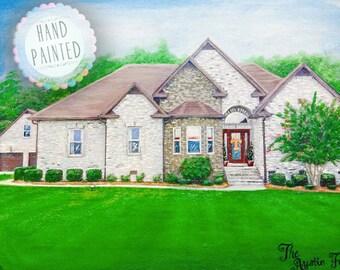 Custom Home Painting, House Portrait, Home Warming Gift,  Closing Gift, Custom House Painting, Commission Oil Portrait, Oil House Painting