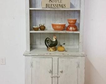 Vintage chippy white farmhouse cabinet