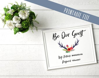 Wifi Password Printable | Be Our Guest | personalized | customize | 4x6 | 5x7 | 8x10 |
