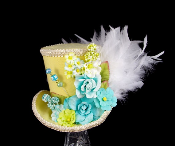 Yellow, Aqua, and Green Paper Flower and Feathers Large Mini Top Hat Fascinator, Alice in Wonderland, Mad Hatter Tea Party, Derby Hat