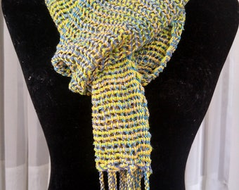 Hand-woven lacy mesh light-weight scarf in yellow blue and green   loose woven lace scarf   multicolor leno lace scarf   spring color scarf