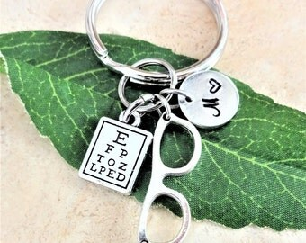 "EYE CHART & GLASSES keychain with initial charm - Read ""item details"" and see all photos - one flat rate shipping in my shop :)"