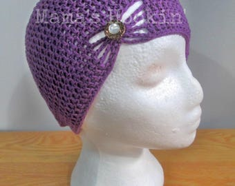 Purple Butterfly Beanie Hat with Jewel Bow Hat Fashion Accessory Spring Summer Hat 1920s Inspired Child Size Crochet