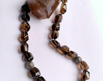 Smoky Quartz necklace Silver 925 smokey brown gemstone necklace Smoky black transparent gemstone.