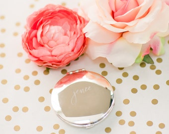 "Personalized Round Mirror Compact - (ONE) Custom Engraved Silver Compact 2.75"" - Bridesmaid Proposal Gift Basket - Hand Brush Lettering"