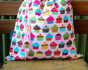 Childrens Library Bag - Colourful Cupcakes